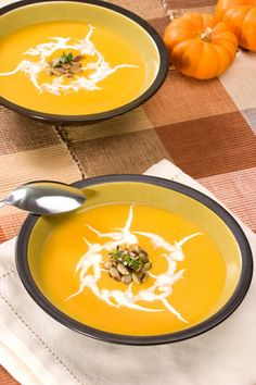 This is a very savory pumpkin soup recipe. It is easy to make, deliciously creamy and very tasty. You can substitute milk for the cream if you want a lower calorie soup. It will be thinner but still taste good. Also, if you want a vegetarian soup you can use vegetable broth instead of chicken broth. Half chicken broth and half vegetable broth is a tasty combination too.