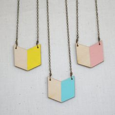 Mustard Geometric Chevron Hand Painted Wood Necklace by DaniMakes