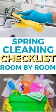 Room by room detailed cleaning list for spring cleaning . Includes a list of cleaning supplies to gather together to clean each room of your house