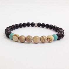 Pulseira masculina pedras naturais onix jaspe turquesa stone mens bracelets fashion moda estilo rua pulseiras masculinas onyx
