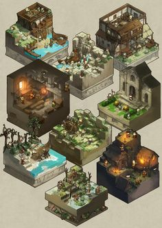 Level Design, Bg Design, Game Design, Isometric Art, Isometric Design, Game Environment, Environment Concept Art, Arte Game Of Thrones, Cube World