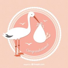 Stork with baby vector Baby Stork, Stork Baby Showers, Bebe Vector, Vector Free, Dr Logo, Free Baby Shower Printables, Josi, Baby Drawing, Mothers Day Quotes