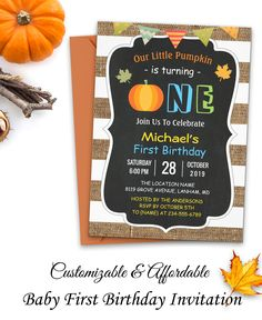 Autumn Themed - Chalkboard Burlap Cute Pumpkin - Baby First Birthday Invitation Template First Birthday Cards, 1st Birthday Party Invitations, Baby First Birthday, 1st Birthday Parties, First Birthdays, Baby In Pumpkin, Cute Pumpkin, Little Pumpkin, Baby Shower Fall