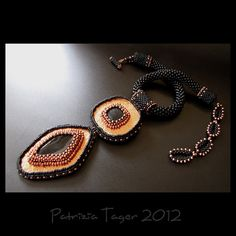 Fiery Warrior - OOAK Black and Copper Beaded Statement Necklace by Triz Designs