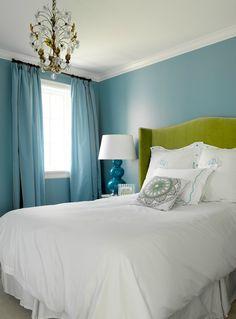 Love the walls. Suzie: Graciela Rutkowski Interiors - Stunning green & blue bedroom - bold blue walls paint ...