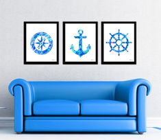 Aqua blue nautical print set compass by FluidDiamondArt on Etsy