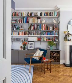 East Dulwich Family Home: Living room by Imperfect Interiors Living Room Shelves, Home Living Room, Living Room Designs, Living Room Decor, Living Spaces, Bedroom Shelves, Home Library Design, Home Interior Design, Interior Garden