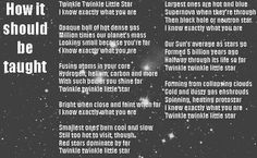 A different version of Twinkle Twinkle Little Star...almost as if it were re-written by Sheldon Cooper ;)