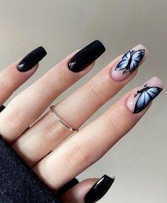Fall Nail Art Designs, Black Nail Designs, Cute Nail Designs, Aycrlic Nails, Chic Nails, Stylish Nails, Classy Nails, Nail Nail, Nail Polish
