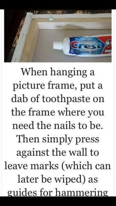 Life hacks Household ideas Hanging pictures Tips Tricks Nails Nail holes Picture frames