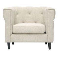"""Diamond-tufted club chair with linen-blend upholstery and a birch wood frame.   Product: Club chair    Construction Material: Birch wood, flame retardant foam cushions, and linen blend    Color: Beige   Features:  Style is casual, urban, and modern    Will enhance any decor  Dimensions: 29.25"""" H x 36"""" W x 29.75"""" D"""