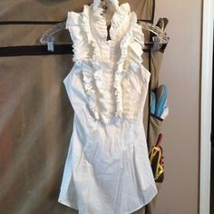 I just added this to my closet on Poshmark BCBGMaxAzria White Ruffled Halter Size M. Check it out! Price: $45 Size: M, listed by lindsaycnj