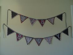 Pirate themed baby shower pennant banner