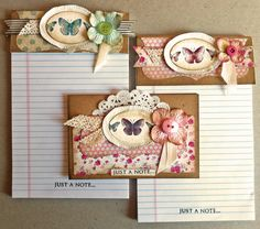 """Just a note ... 2 notebooks and 1 card (Stampin' Up """"Kindness Matters"""" stamp set)"""