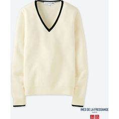 UNIQLO Women's Idlf Cashmere V-Neck Sweater ($80) ❤ liked on Polyvore featuring tops, sweaters, off white, off white sweater, v-neck tops, uniqlo, cashmere wrap sweater and uniqlo sweater