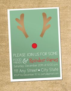 Christmas Party Invite Reindeer by AestheticJourneys on Etsy