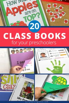Class books are often the most engaging books in a preschool or kindergarten classroom reading corner. Click to find 20 fun ideas and learn how to make DIY class books for kids at school & home. From Pete the cat, brown bear brown bear, chicka chicka boom boom, and MORE. Use these fun books to teach letters, rhyming, beginning sounds, and other literacy concepts. This is a fun way to build a classroom community at the beginning of the year during an all about me unit and beyond.