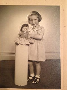 Vintage Photo Little Girl With Doll 1948