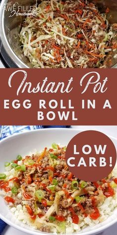 Arbonne 30 Days To Healthy Living Discover Instant Pot Egg Roll In a Bowl {Low Carb!} We love egg rolls! However they can be pretty high in carbs. So a while back I decided to try my hand at fixing this in my instant pot. This recipe is so good! Crockpot Recipes, Cooking Recipes, Healthy Recipes, Chicken Recipes, Vegetarian Recipes, Cooking Games, Fast Recipes, Delicious Recipes, Cooking Tips