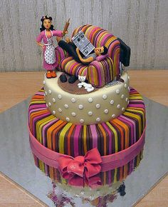Love the Colors and detail work Bad Cakes, Cute Cakes, Sweet Cakes, Fondant Cakes, Cupcake Cakes, Fondant Figures, Beautiful Cakes, Amazing Cakes, Cake Pops