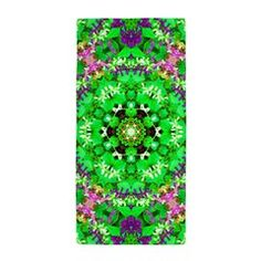 Pretty Flowers Green Beach Towel