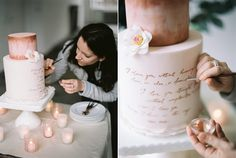 Andrea Kargl doing some last touches on her bespoke wedding cake design behind the scenes of wedding inspiration shoot
