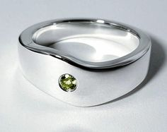 Peridot Wave Ring In Sterling Silver, Sterling Silver Peridot Wave Ring, Single Peridot Ring, Peridot Wave Band, Sterling Peridot Ring