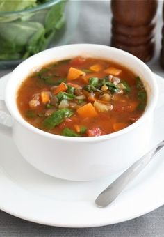 Lentil Soup with Sweet Potatoes and Spinach Recipe on twopeasandtheirpo... Love this healthy and easy soup!