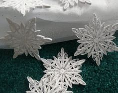Paper Quilled Christmas Frozen Snowflake Ornament Gift Topper Stocking Stuffer