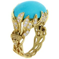 Stambolian Sleeping Beauty Turquoise Diamond Gold Ring | From a unique collection of vintage cocktail rings at https://www.1stdibs.com/jewelry/rings/cocktail-rings/