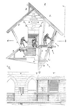 Illustration of an Hoardings. Wood works on top of towers and walls that made it easier to defend. ( see also: http://en.wikipedia.org/wiki/Hoarding_(castles) )