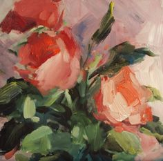 Rose buds, painting by artist Parastoo Ganjei