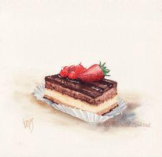 Dessert Illustration, Chibi Food, Food Sketch, Watercolor Food, Food Painting, Pastry Art, Food Drawing, Food Illustrations, Cute Food