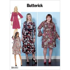 Misses and Womens Dresses Butterick Sewing Pattern 6481 from Sew Essential. Dress Sewing Patterns, Clothing Patterns, Sewing Ideas, Mccalls Patterns, Sewing Projects, Sewing Art, Taylor Dress, Sewing Clothes, Dress Making