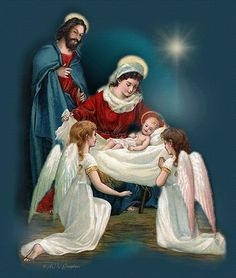 The Nativity The birth of Christ Jesus Christmas Nativity, Noel Christmas, Vintage Christmas Cards, Xmas, Religious Pictures, Religious Art, Illustration Noel, Jesus Birthday, Happy Birthday Jesus Images