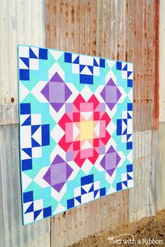 Aurora Quilt Pattern by Tied with a Ribbon RJR Cotton Supreme Solids Half Square Triangles Big Block Quilts, Star Quilts, Quilt Blocks, Scrappy Quilts, Quilting Tutorials, Quilting Designs, Quilt Patterns Free, Block Patterns, Geometric Patterns