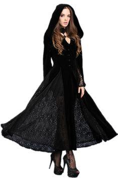 JW011 Black Long Sleeve Gothic Vampire Punk Scene Clothing jacket gown