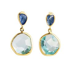 Margoni: Tanzanite & Aquamarine Drop Earrings. A striking yet elegant hand-cut green Tanzanite and Aquamarine earring set in 18ct yellow gold. These gorgeous earrings add subtle luxury to any outfit.
