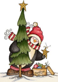 Penguin Decorating a Christmas Tree Picture