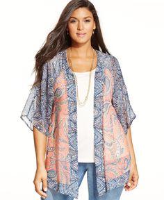Style&co. Plus Size Paisley-Print Kimono, Only at Macy's