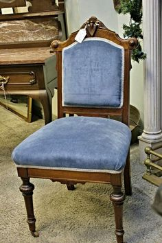 1880s Eastlake Victorian Burled & Solid Mahogany side chair w/ almost new blue velvet upholstery         The Antique Roadhouse,  700 Washington St, Norwood Center, MA 02062,  781-769-1532  www.AntiqueRoadhouse.com