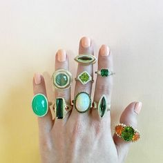 It isn't easy being green (from left to right, top to bottom: Chrysoprase, Jade catseye, Tourmaline, Peridot, Peridot, Opal, Tourmaline, Tourmaline, Peridot + Fire Opal)  All rings handmade by Ricardo Basta Fine Jewelry