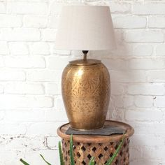 Leena Brass Lamp || This artisan brass lamp will light up your home in more ways than one. Pop on a side table for a stylish reading light or create an atmosphere in the dining room with this beauty on the sideboard. With stunning etched patterns for a truly conversational piece.
