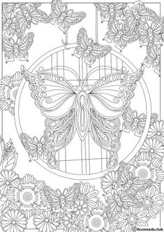 Butterfly Coloring Page, Flower Coloring Pages, Coloring Pages To Print, Mandala Coloring, Free Coloring Pages, Coloring Books, Kids Coloring, Pattern Coloring Pages, Detailed Coloring Pages