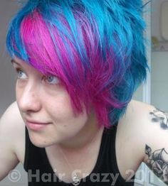 Photo of lozzerthelezzer using -, Directions Atlantic Blue, Directions Flamingo Pink, Manic Panic Enchanted Forest - August 2013 p. Turquoise Highlights, Turquoise Hair, Funky Hair Colors, Colorful Hair, Hair Colour, Pink Hair, Blue Hair, Golden Blonde Hair, Crazy Hair Days
