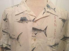 Nautica Big Game Fishing map Button Front Hawaiian Style Linen shirt Mens XL  #Nautica #Hawaiian