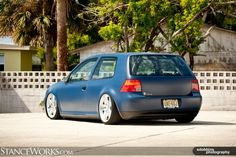 Dig the Satin Blue paint and stance on this VW golf!