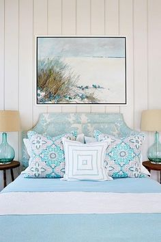 Family-Friendly Beach House - bedroom - soft aqua and white sheets and throws, cream wall
