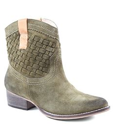 Diba Green & Tan Free Pass Suede Ankle Boot.