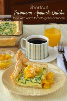 Parmesan Spinach Quiche with Warm Tomato Garlic Compote - this shortcut recipe uses ready-made frozen puff pastry, making it easy to get into the oven in mere minutes.